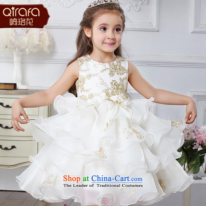 Kawasaki Judy Flower Princesses skirt girls dress children dress skirt princess skirt wedding dress dresses Summer 4029 m White150 children's wear code