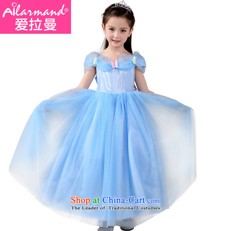 Love Rahman Kidswear 2015 Summer new girls dresses of the same Cinderella dance performances to Princess skirt Blue150