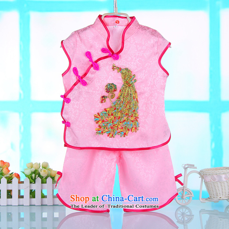 Summer 2015 new products Tang dynasty, short-sleeved children Kit China wind girls under the age of your baby dress two kits 4686th pink110cm,