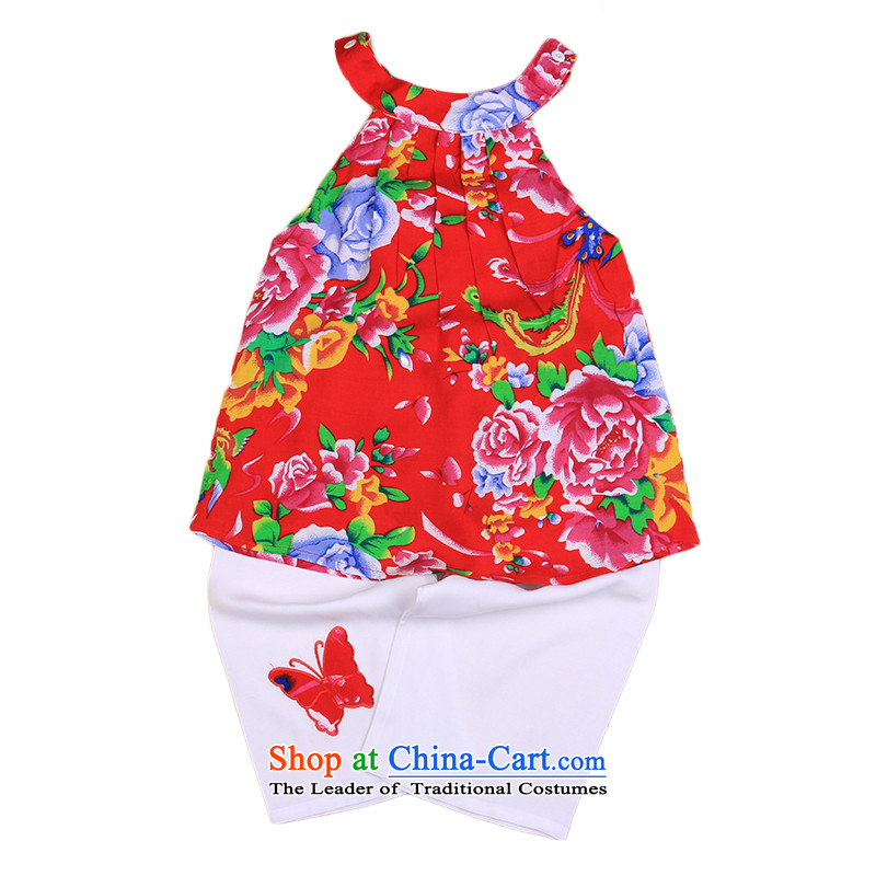 The new Child Tang dynasty female babies summer age sleeveless + shorts pure cotton dress small children's wear 4678 birthday red 110cm,