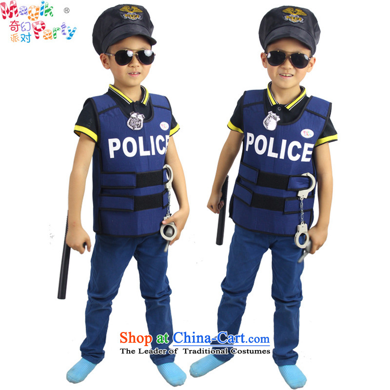Fantasy to celebrate Children's Day to send the boy son birthday gift costumes Dress Photography parent-child services children police uniform police vest police vest (the hat to props) code (elastic band height adjust 100-140cm