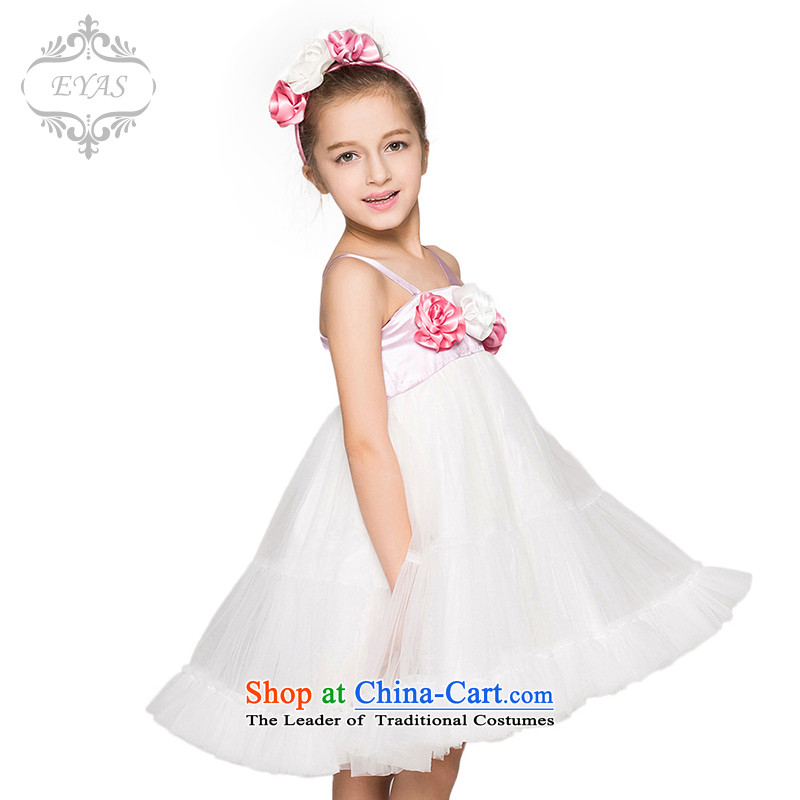 61. Girls white dress children wedding dress Show Services Princess bon bon skirt Flower Girls slips dress White 150