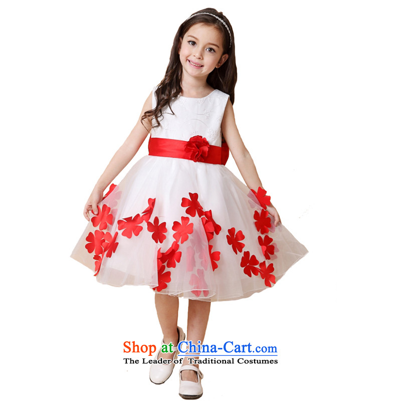Adjustable waist bag package children red dress girls princess skirt Flower Girls dress bon bon skirt under the auspices of clothing white 140 Performance