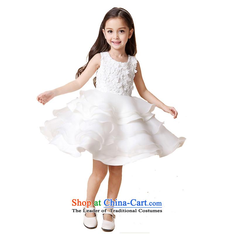 Adjustable leather case package children dress girls white bon bon skirt Flower Girls dress your baby years dress white150cm