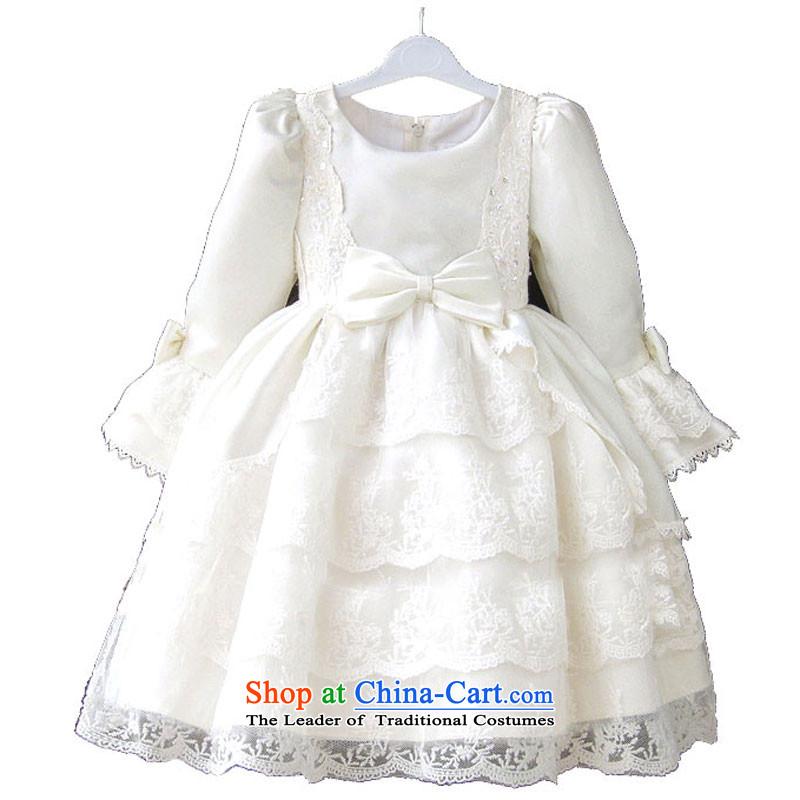 Adjustable leather case of children's wear girls dresses package skirt will children long-sleeved princess skirt the skirt _size offset most of the Code_ white long-sleeved聽140cm
