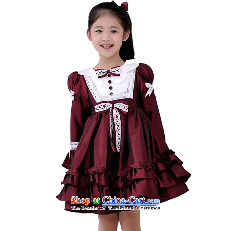 Adjustable leather case package children princess dress skirt girls long-sleeved bon bon skirt Flower Girls wedding dress performances, wine red long-sleeved 150cm 12 Code