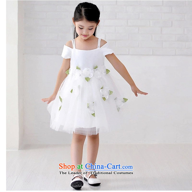 Adjustable leather case package children dress skirt princess skirt bon bon skirt wedding flower girls skirt the spring and autumn of the girl child and of children's wear small wedding Show Services White?140cm 10