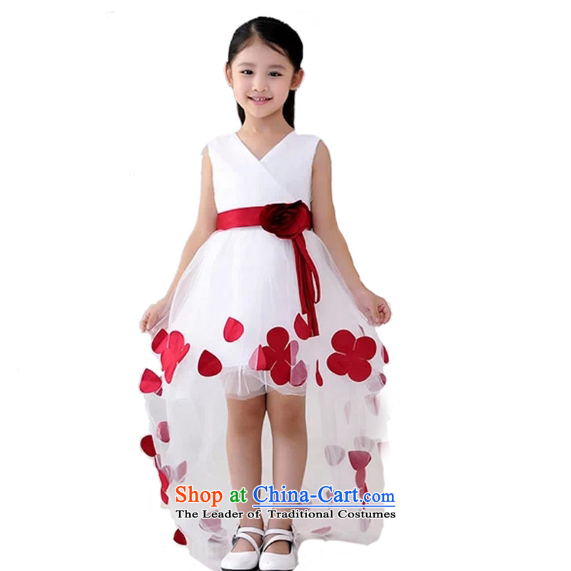 Adjustable leather case package children princess skirt girls wedding dress summer, trailing Flower Girls dress bon bon skirt white 150cm 12 Code