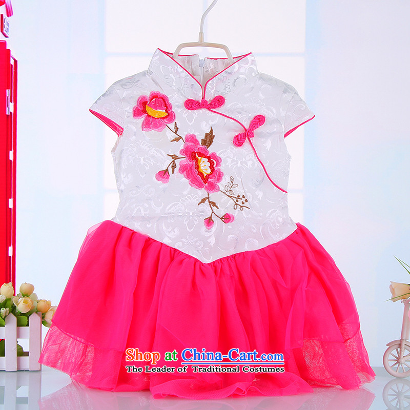 Children cheongsam dress princess girls summer cotton dress qipao Tang dynasty of children's wear kid guzheng will 314,677 White 110