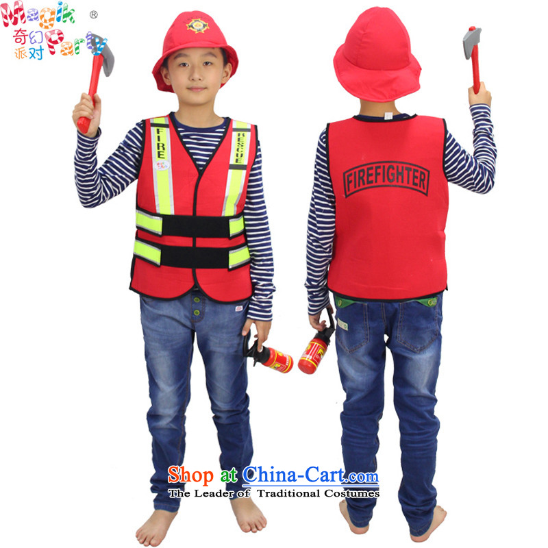 Fantasy to celebrate Children's Day to send the boy son birthday gift costumes Dress Photography parent-child services children firemen dress vest firemen (with a hat - props) code (HEIGHT MEASURING 100-140)