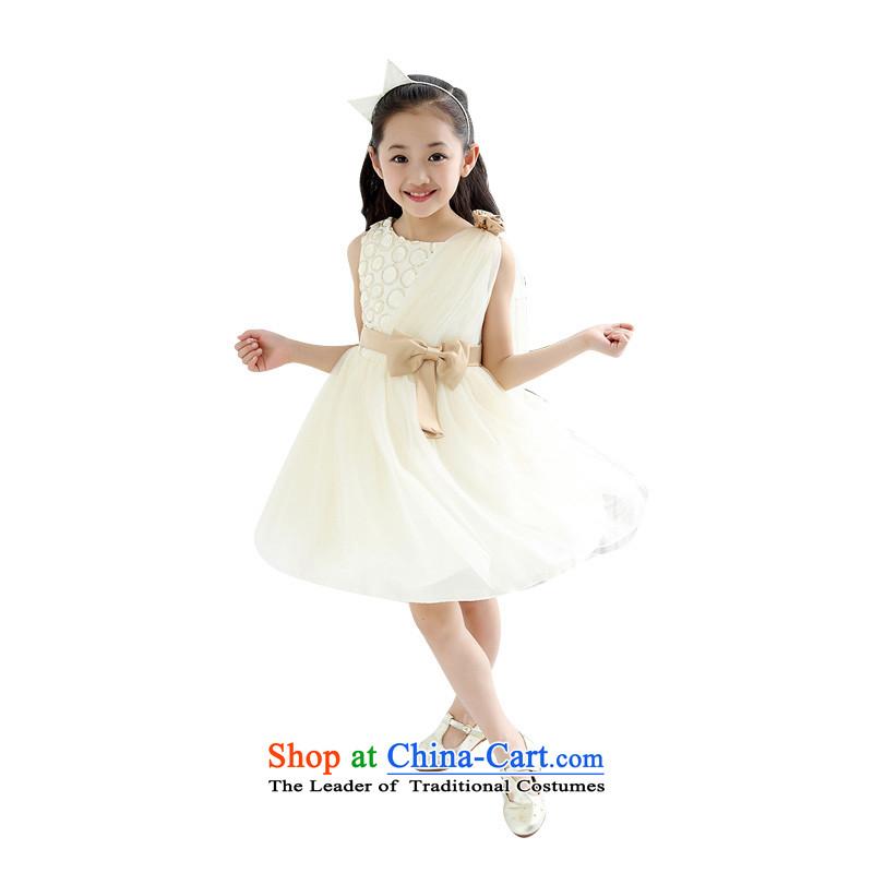 Children's wear girls on-chip skirt will dance rose CUHK child dresses wedding dress sweet princess skirt m Yellow130 children