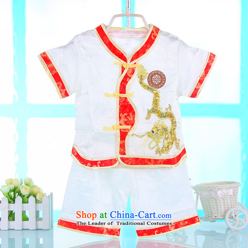 Tang Dynasty children boy Kit Tang dynasty baby FULL MOON CHILD CARE hundreds of children's wear under the age amanome summer Jinlong dress 4679 imported from White 100