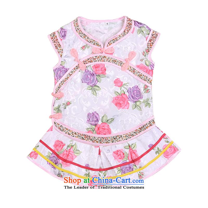 Tang Dynasty summer infant girl baby birthday gift pack early childhood retro cheongsam dress trunkhose princess dress 4,655 purple100