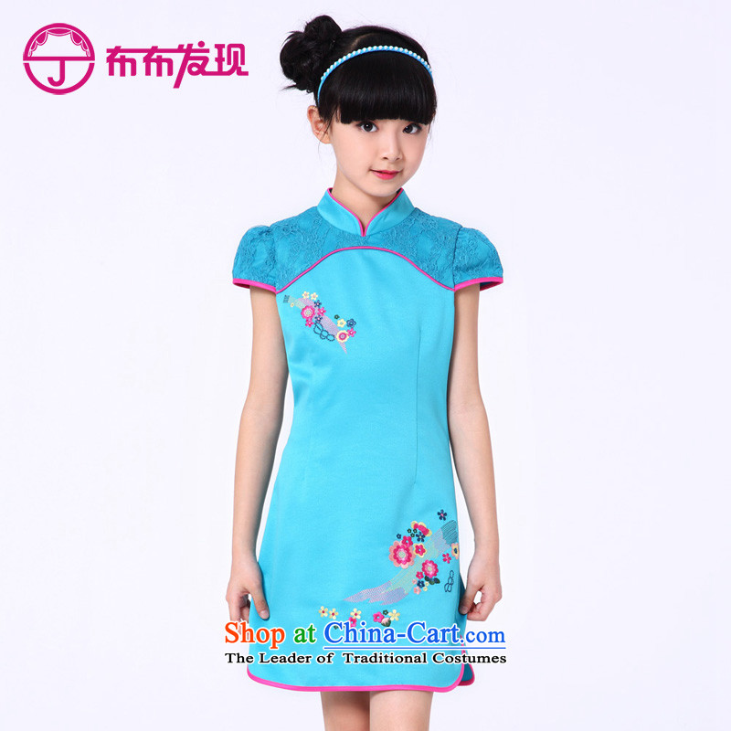 The Burkina found new children's wear 2015 girls qipao stitching embroidery cheongsam dress CUHK girls children Tang dynasty, blue summer 150