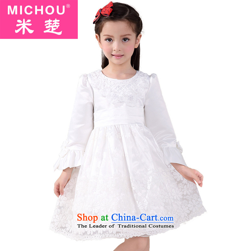 M Chor kidswear children Flower Girls dress princess skirt girls bon bon apron skirt performances showing the dress White 160