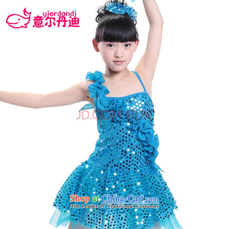 Children costumes girls show apparel princess skirt dress children on chip Modern Dance Dance service unilateralism skirt early childhood fungus Blue?120