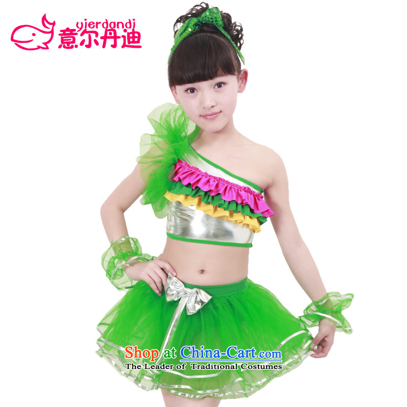 2015 dance performances to celebrate Children's Day girls serving light slice dance show and dance scene clothing flowers Green?140