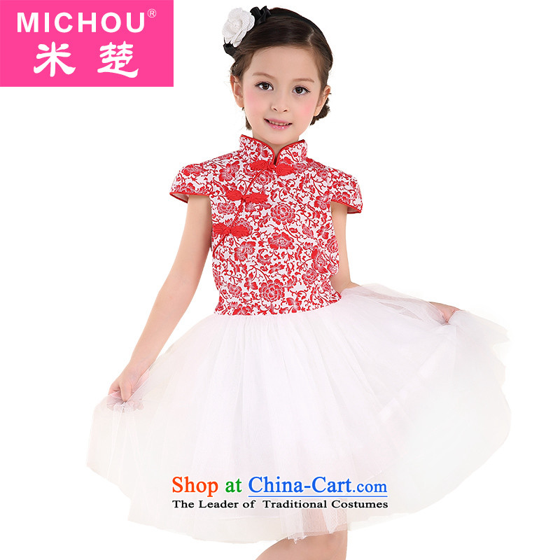 M Chor girls dresses 2015 Summer New Tang dynasty princess skirt the little girl cheongsam Show Services Red160