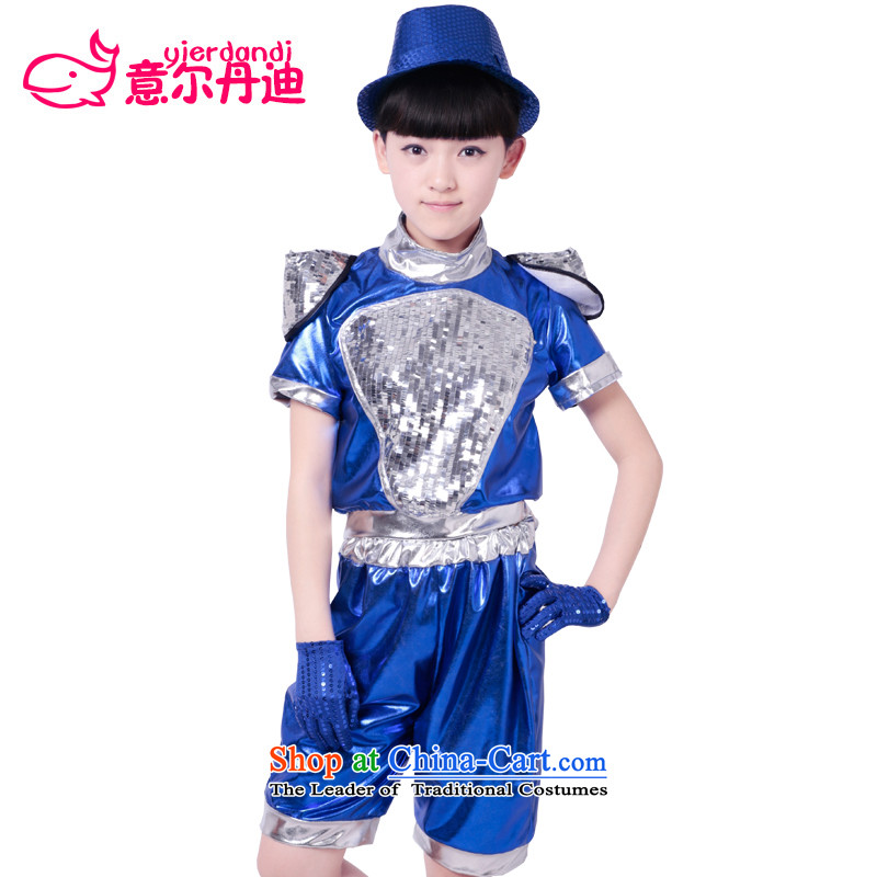 61 New Children Dance services to boys and girls Street Jazz Dance Dance Dance Performance costumes and child care service kit children's stage costumes Blue聽140
