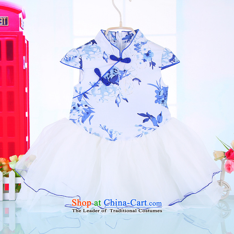 Children's Wear 2015 Summer girls dresses Korean new short-sleeved shirts children girls porcelain princess dress 4013 Blue110