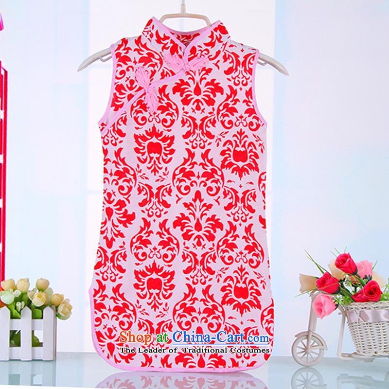 Children cheongsam dress princess girls summer cotton dress qipao Tang dynasty of children's wear kid guzheng will 4008 Red130