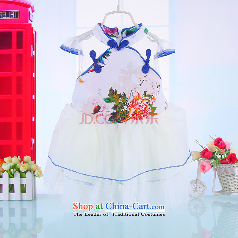 Manually girls Tang Gown skirt baby Tang Dynasty Chinese children will dress qipao spring and summer parent-child qipao custom 449.6 Blue 110