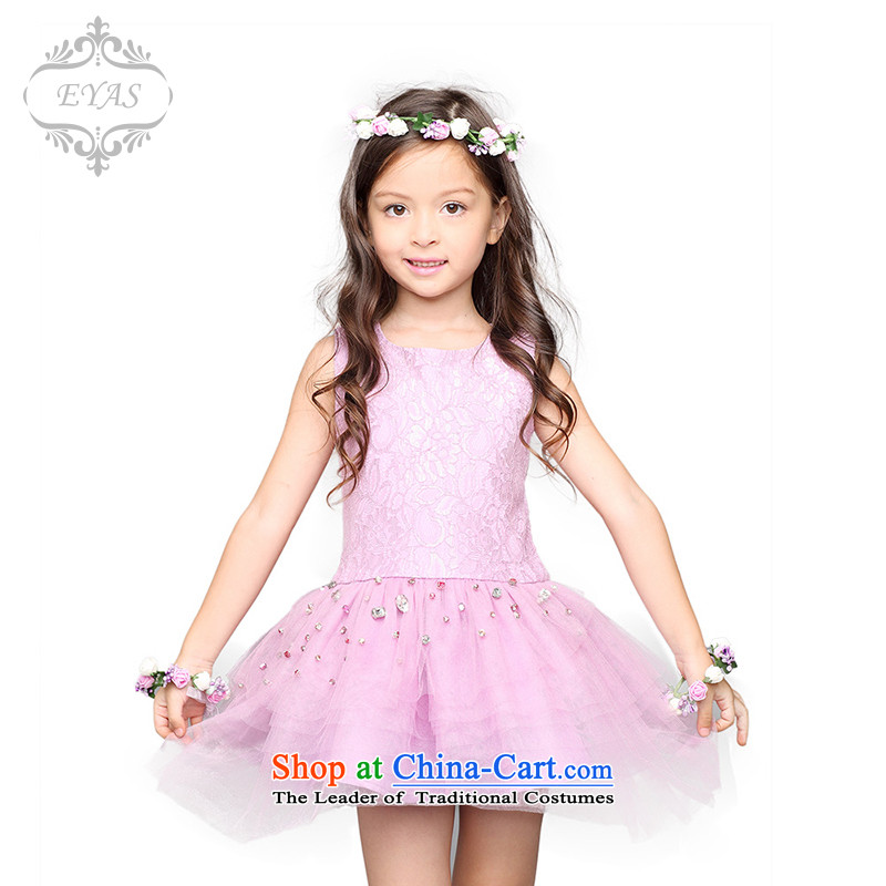 The new summer EYAS2015 girls children's wear skirts princess children skirt 61 performances dress skirt flower girl Michelle Purple 150