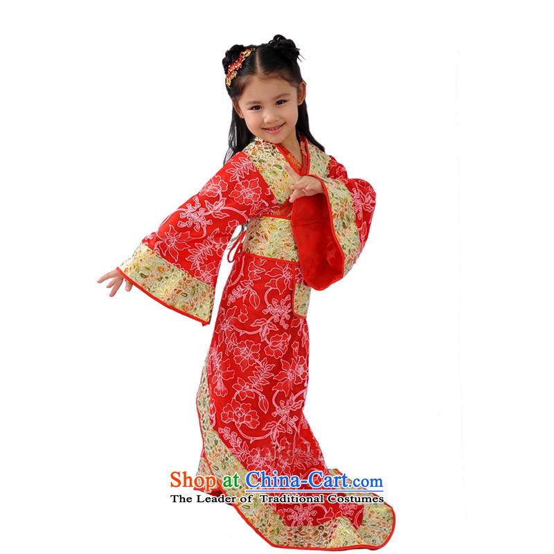 Adjustable leather case package children costume girls Han-Princess services will serve the ancient Gwi-red140cm