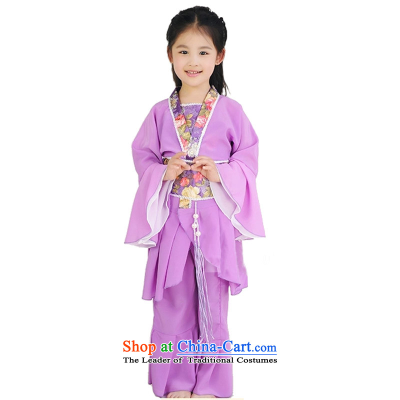 Adjustable leather case package children costume Han-fairies services ancient performance services purple聽160cm