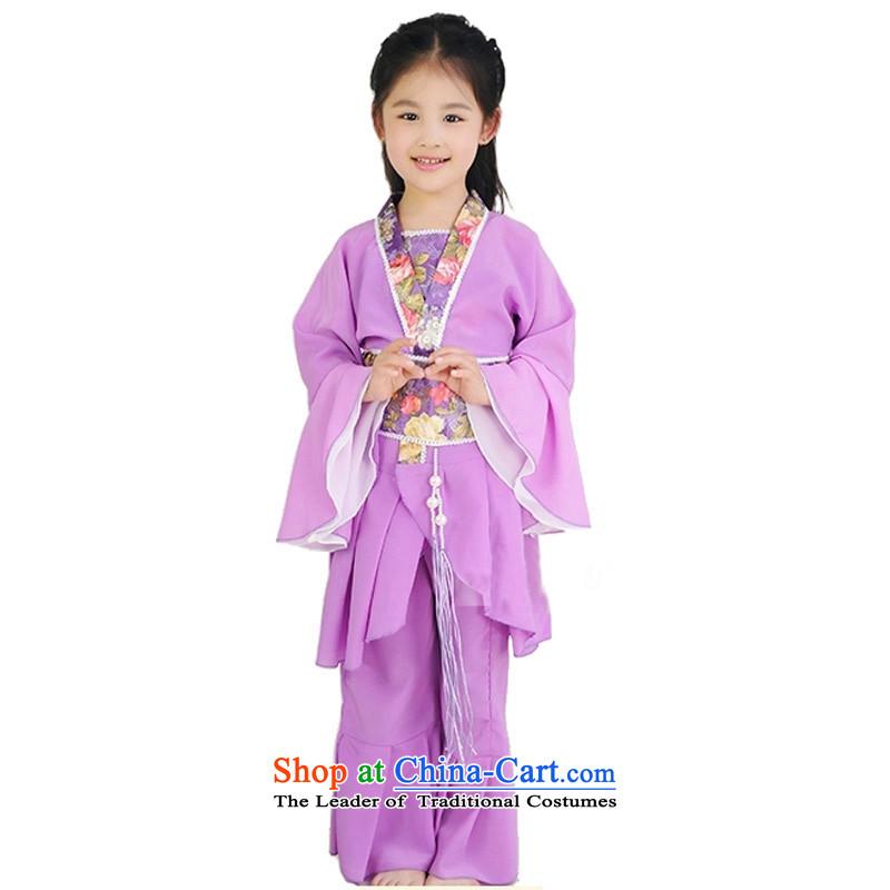 Adjustable leather case package children costume Han-fairies services ancient performance services purple160cm