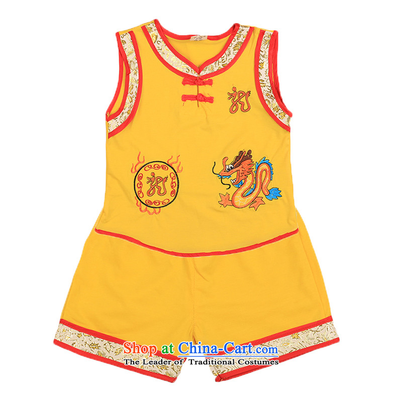 2015 new children's wear on infant and young child summer newborn baby Sleeveless Men's Shorts two kits of children's wear under the Tang Dynasty Package 4807 Yellow聽90cm