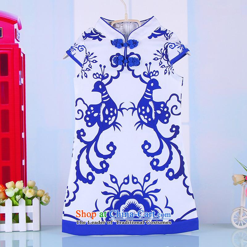 2015 children of ethnic Chinese qipao Summer Children cotton linen girls Tang Gown skirt girls owara costumes 4011 Blue140