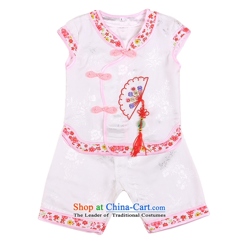 New sleeveless silk cotton girls with your baby girl children national Tang tray clip kit shorts vest 4808 White聽100CM