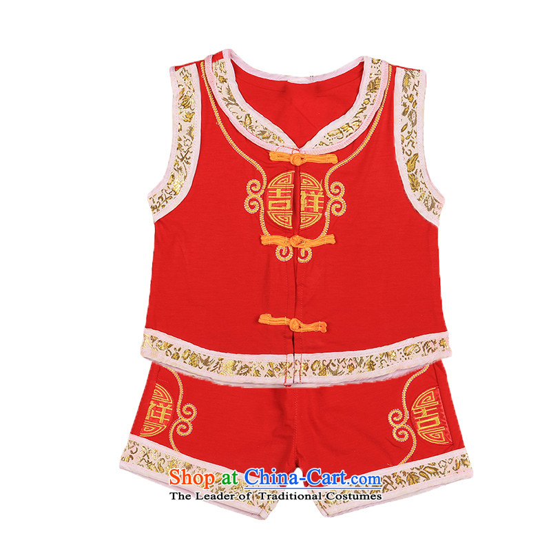 The Luckiest baby vest Tang dynasty summer sleeveless cotton comfort and breathability 100 days will be entitled to men under the age of children's wear 4697th red聽100CM