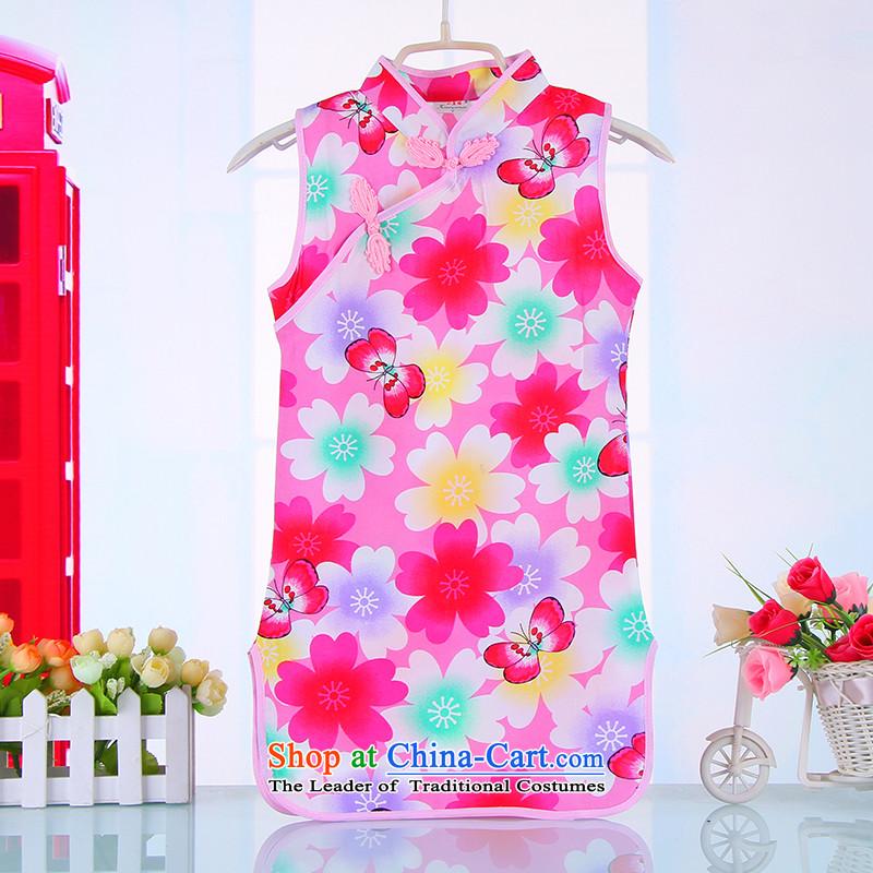 Summer Children qipao girls Tang dynasty princess skirt ethnic pure cotton small girls Da Tong Zheng costumes聽 4001聽pink聽140