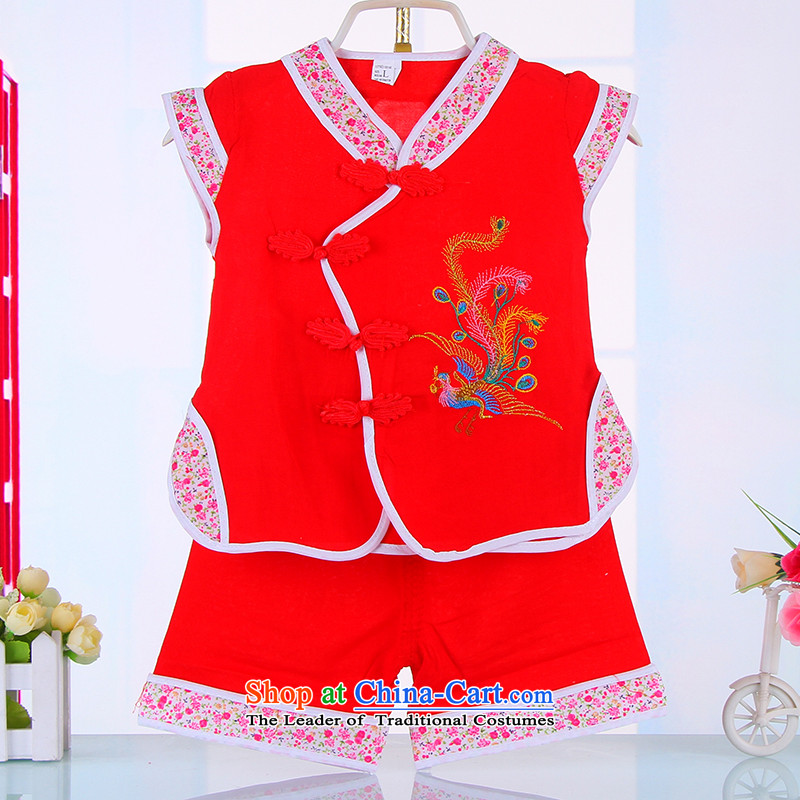 Summer Children Tang dynasty girls sleeveless jacket embroidered with a Phillips shorts kit baby birthday dress dances with 4,513 Red 90