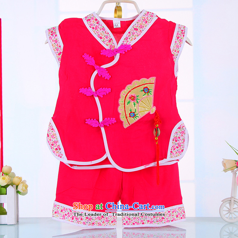 The boys and girls of pure cotton summer rainy summer package your baby min silk dress infant children's wear Tang dynasty? 4511 years?of 0-123 half red?90CM
