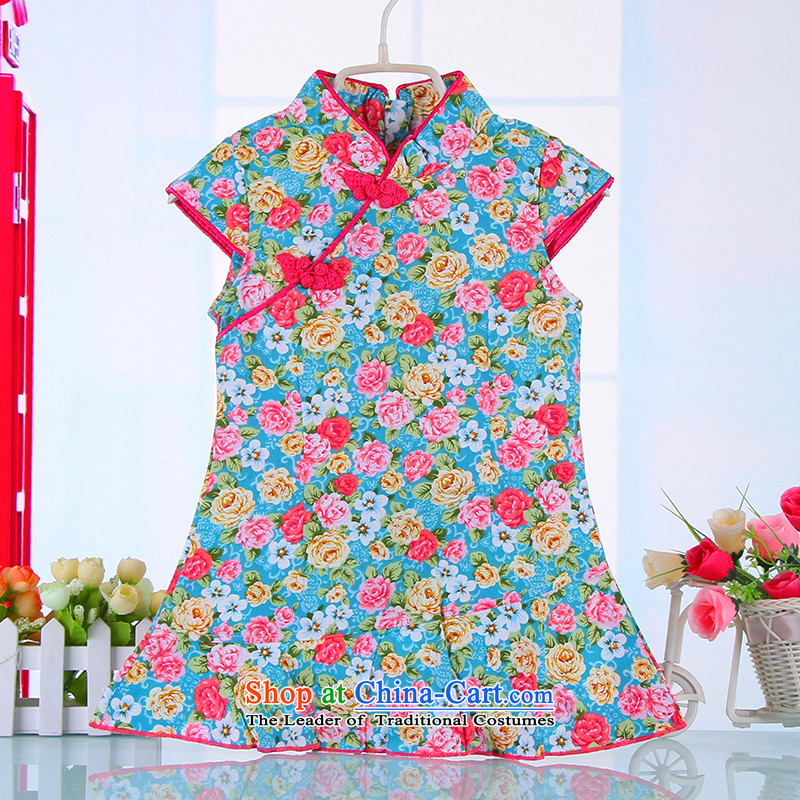 The spring and summer of the Tang dynasty qipao children girls short-sleeved dresses pure cotton saika China wind retro baby skirts 4360Blue120