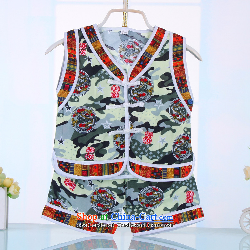 Summer 2015 baby feeding children vest kit boy children Chinese clothing dragon of small and medium-sized child artificial cotton Tang dynasty  4517 green 90CM