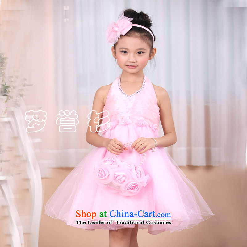 The girl child princess skirt dresses pink flower children's wear celebrate Children's Day piano soloist small moderator of the recitation skip dance performances for clothing wedding dresses bon bon skirt pink 140-145cm34 code