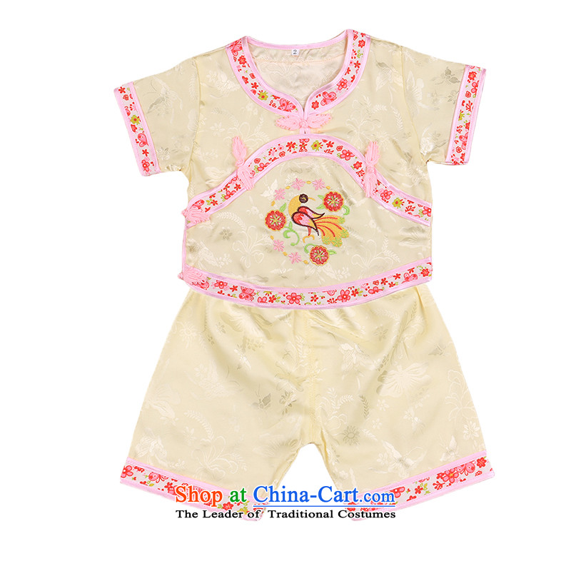 Summer Children Tang dynasty female babies pure cotton kit baby is one month old men and 100 days of age grasp week dress girls   4665 Yellow 100cm