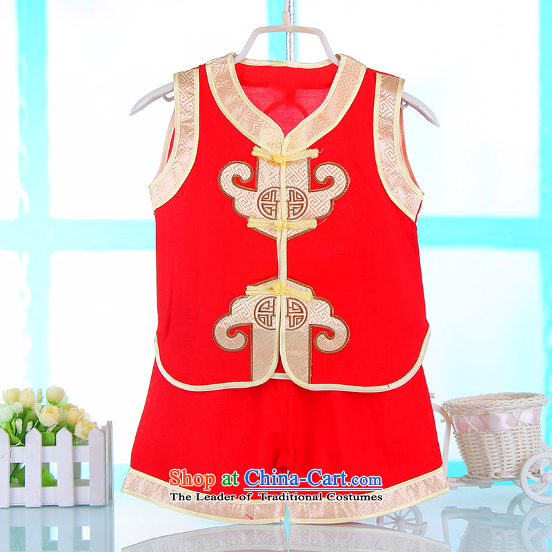 Summer Children Tang Dynasty Men's Apparel Package Service Age Baby Nursery performances will dress sleeveless 4662 for Red 110CM,