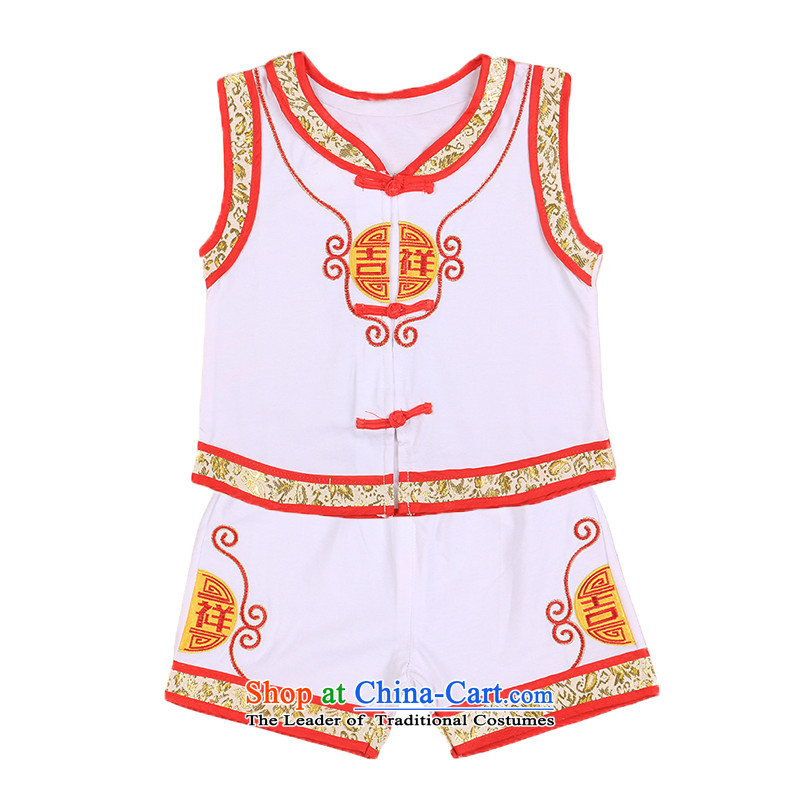 Male baby 100 days old auspicious festive Tang Dynasty Package summer vest sleeveless tulles air-conditioning banquet gifts foreign affairs 4697th white聽100CM