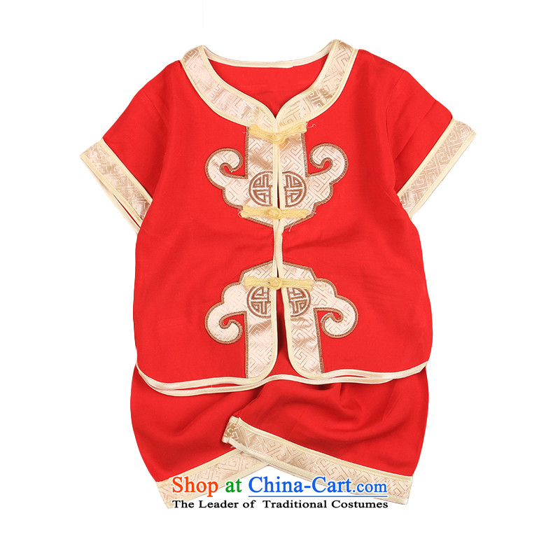 New boys retro ethnic Summer Package children short-sleeved cotton linen Tang dynasty male baby summer offer 4,799 Chinese red?110CM,