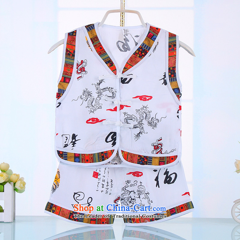 Summer Children's Wear Dragon China wind boy children summer sleeveless shorts cotton linen Tang Dynasty Package your baby Tang dynasty 4517 White 90CM