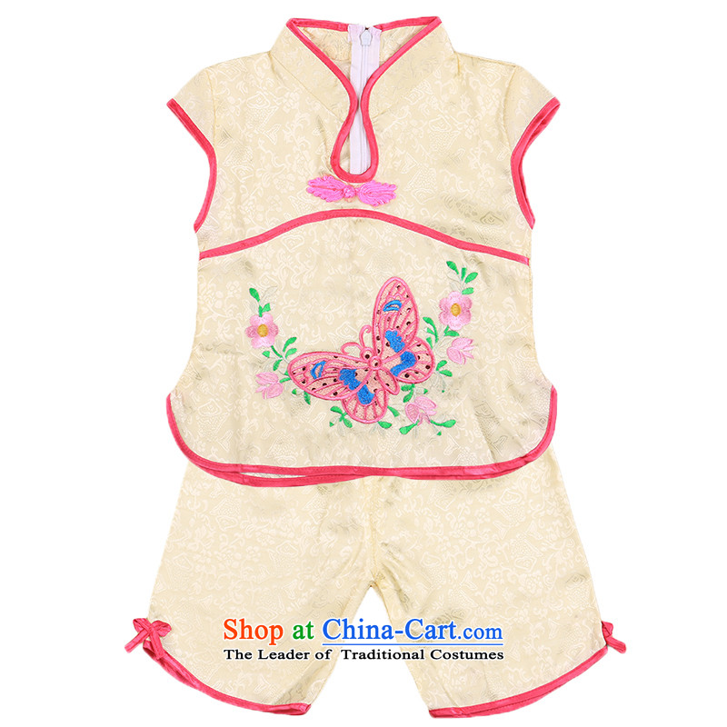Tang Dynasty female babies children age summer sleeveless + shorts brocade coverlets Birthday holiday dress small children's wear infant 4809 Yellow110CM,