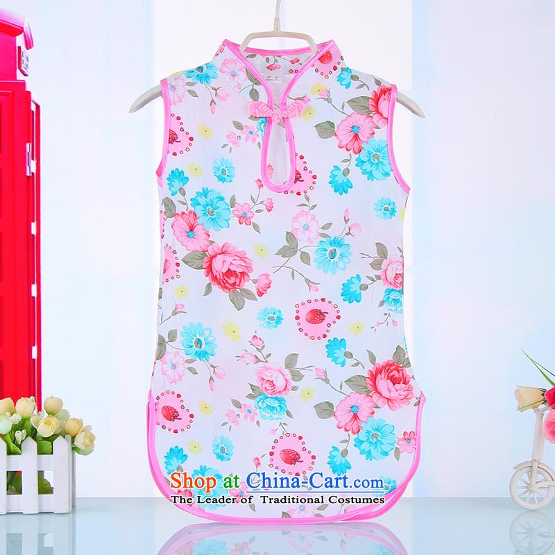Children qipao cotton linen idyllic summer 2015 new costume Tang Dynasty Show service pack your baby girl children's wear Tang 4,523 Saika Blue140