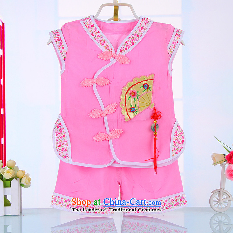To prevent girls' Tang dynasty stamp summer T-shirt shorts two kits 1 years 2 years 3 years old baby birthday dress 4511 Pink聽90CM