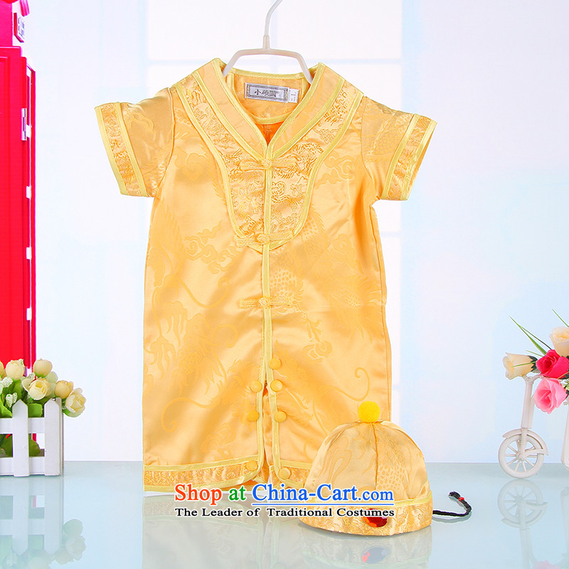 Tang Dynasty infant male baby Tang dynasty, Yi-yi summer short-sleeved full moon 100 days 100 years old dress 4012 Yellow 73