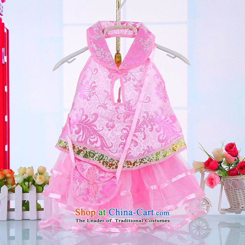 The girl child Tang dynasty princess summer dress Clothes Summer Package Boxed cheongsam dress dances in celebration of short skirts  4658 pink 100CM